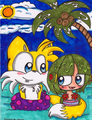 Tails and Cosmo at the beach