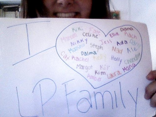 Leyton Family<3 karatasi la kupamba ukuta with a paper towel and a sign called To all my girls <3