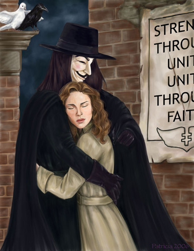 Vfv hintergrund probably with a cloak, a hooded cloak, and an opera haube in the v for vendetta club