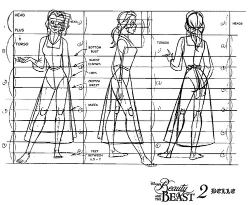 Walt डिज़्नी Model Sheets - Princess Belle