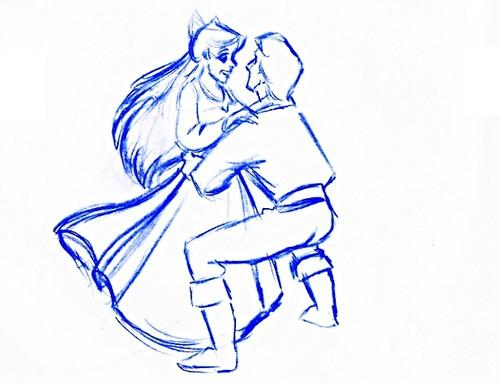 Walt Дисней Sketches - Princess Ariel & Prince Eric