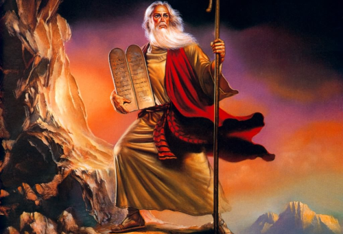 moses with the ten commandments - the-bible Photo
