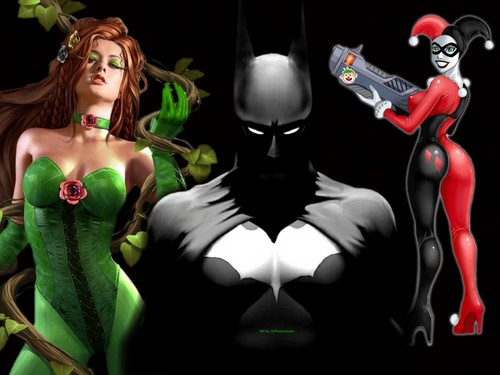 Batman, Poison Ivy and Harley Quinn