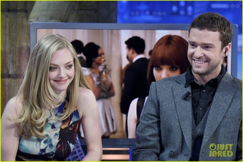 amanda seyfried wallpaper with a business suit and a portrait titled Justin Timberlake & Amanda Seyfried: 'El Hormiguero' Visit!