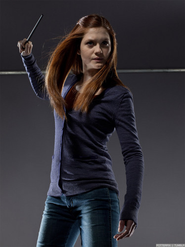 Bonnie Wright wallpaper possibly containing bellbottom trousers, a hip boot, and a jean called New Deathly Hallows Part 2 Promo