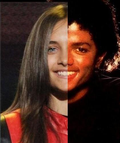 Paris Jackson kertas dinding containing a portrait entitled Paris and Michael ONE FACE!! :