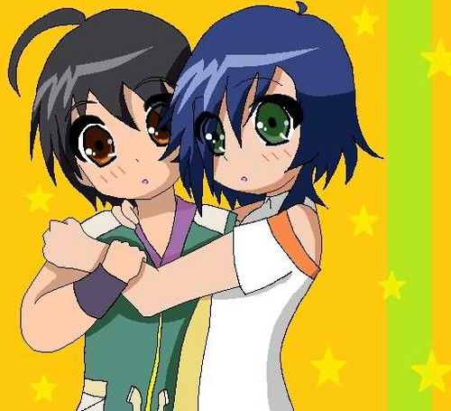 Shun and Fabia holding each other