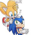 Tails bite Sonic's ear