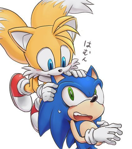 "Miles ""Tails"" Prower wallpaper possibly containing anime called Tails bite Sonic's ear"