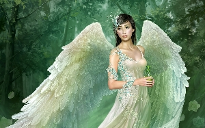 Fantasy wallpaper titled angel in forest