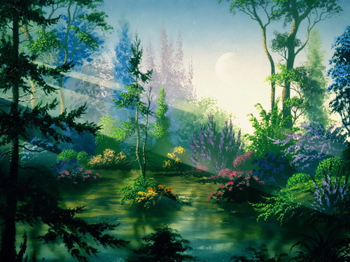 Fantasy wallpaper containing a douglas fir, a ponderosa, and a beech titled fantasy forest