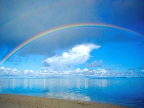 Gambar cantik kertas dinding entitled pelangi, rainbow over water