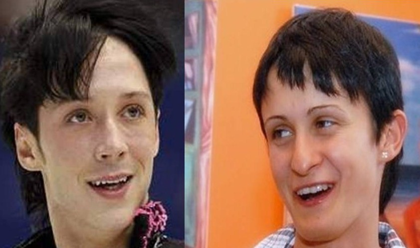 ice skater (man) and fast skater (woman Sablikova ) are look alike