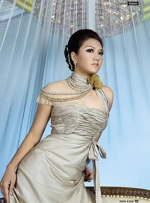 Thet Mon Myint wallpaper containing a dinner dress and a gown called Feminine