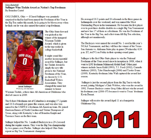 JARED SULLINGER WINS TISDALE AWARD 2011