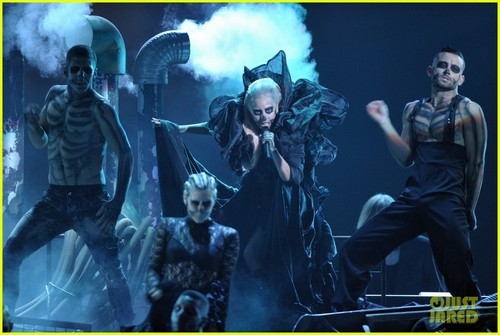 Lady Gaga performing live at Grammys Nominations Concert