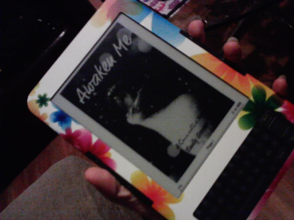 My copy of Awaken Me on my Kindle
