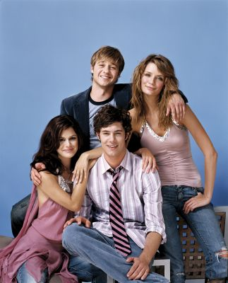 The OC wallpaper probably containing a well dressed person, a pantleg, and a cocktail dress titled Ryan, Marissa, Seth, Summer