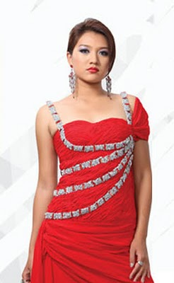 Thet Mon Myint wallpaper containing a dinner dress, a strapless, and a gown titled Thet Mon Myint Pretty, Cute & Feminine