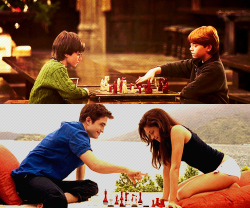 Harry Potter vs Chạng vạng hình nền with a brasserie, a bữa tối, bữa ăn tối table, and an antipasto, phản bội titled Wizards & Vampire... chess.