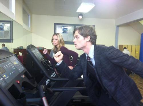 "AJ Cook and Matthew Gray Gublre in set of 7x14 ""Closing Time"""