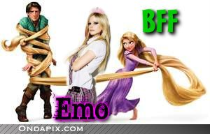 Avril Lavigne with Rapunzel & Flynn