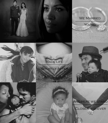 Damon & Bonnie wallpaper probably containing a sign, a bouquet, and a newspaper entitled Bamon the story of thier marriage ,children love and life
