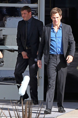 """Chris Pine and Tom Hardy are spotted on set of the new film """"This Means War"""" in Los Angeles."""