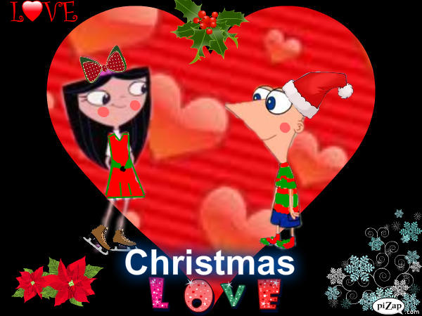 Christmas love: Phineas and Isabella. Under the mistletoe