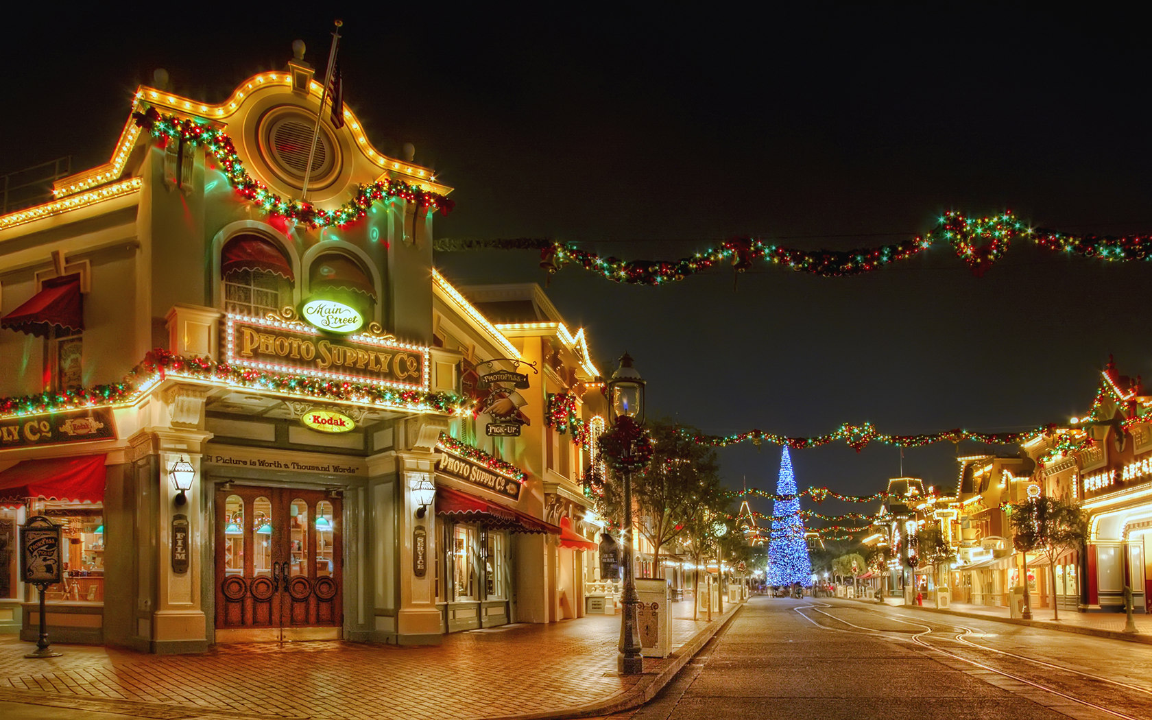 jnrm images disneyland main street at christmas time hd wallpaper and background photos