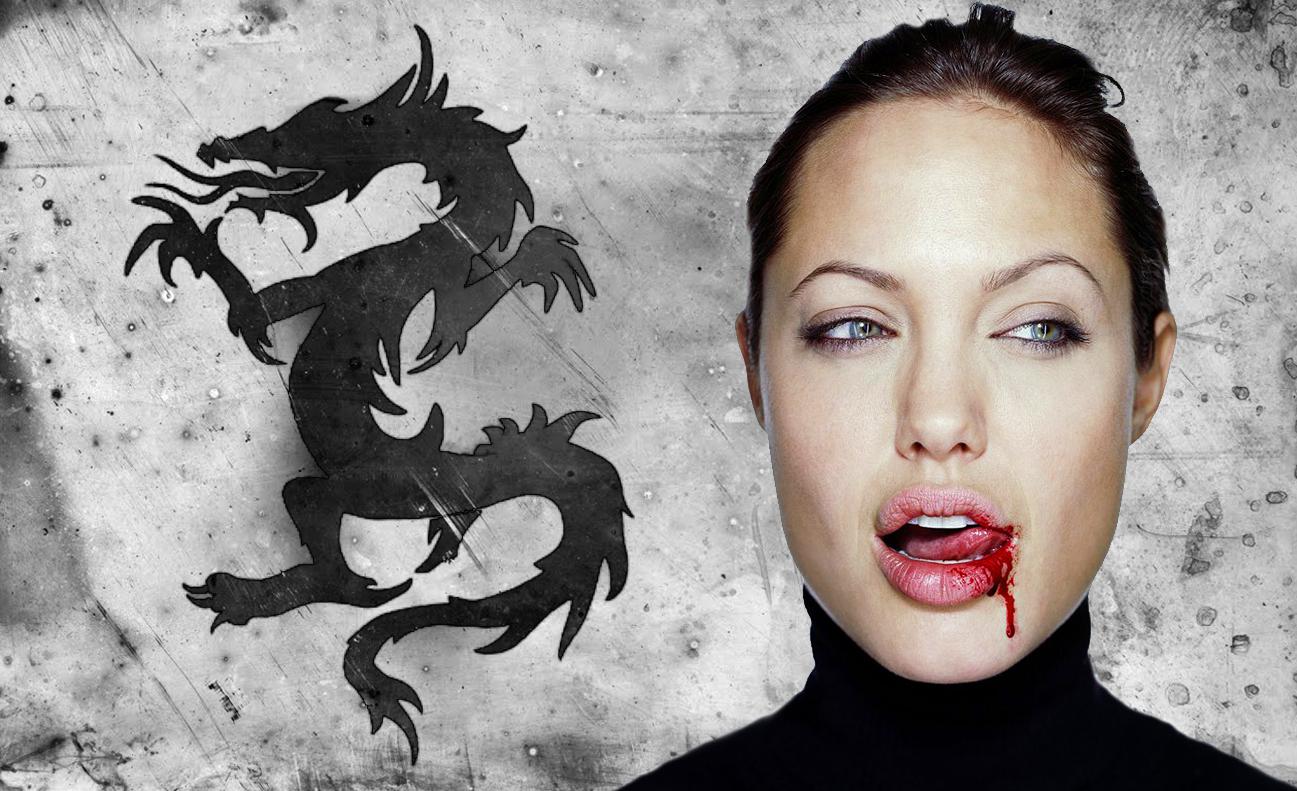 Angelina Jolie Dragon Tattoo