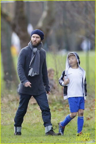 Jude Law Watches Rudy's Soccer Game
