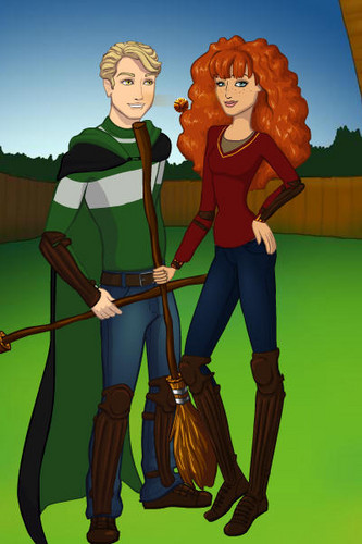 Rose and Scorpius fond d'écran probably with a tabard and a surcoat, surcot titled Quidditch