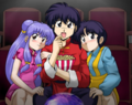 Ranma, Akane, & Shampoo (At the Movie Theater) - ranma-1-2-a-boy-who-changes-in-to-a-girl fan art