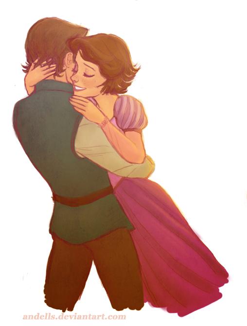 Rapunzel And Eugene Hug