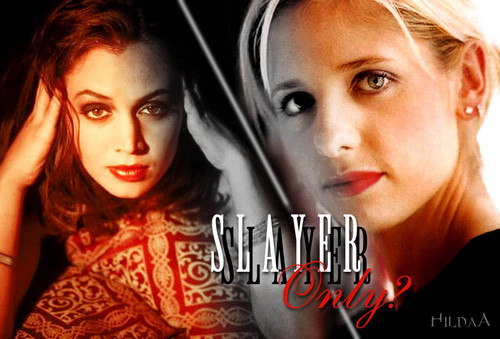 Buffy vs Faith wallpaper with a portrait titled Slayers