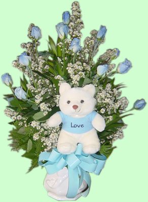 Teddy menanggung, bear and blue Ros