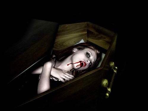 relaxed in the coffin,lol