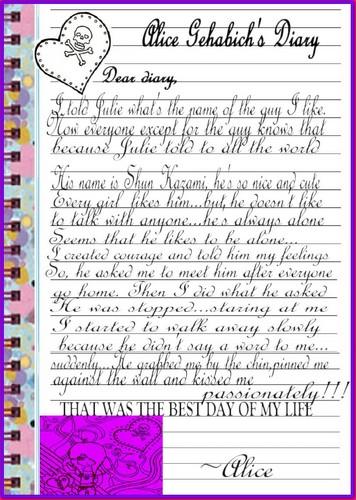 Alice' cute diary about Shun