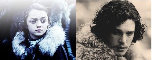 Jon Snow and Arya Stark wallpaper probably with a fur coat entitled Arya & Jon