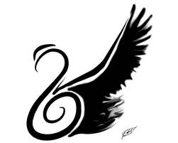 Black Wing রাজহাঁস Tattoo Flash