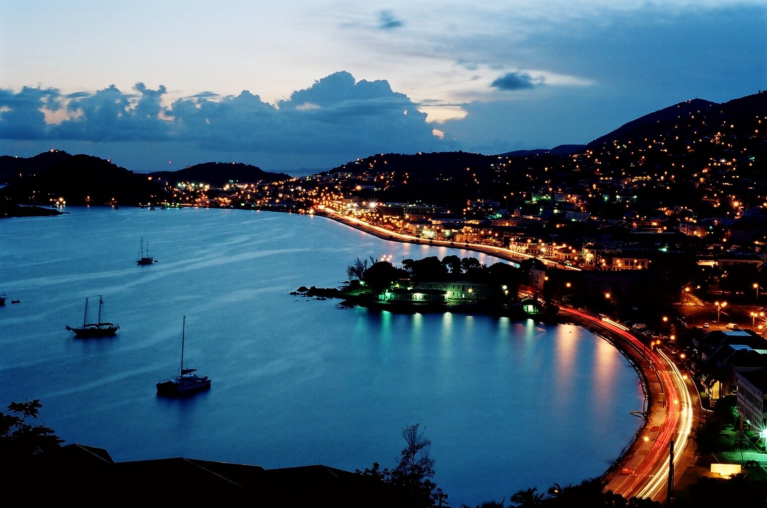 caribbean islands images charlotte amalie @ night, stt hd wallpaper