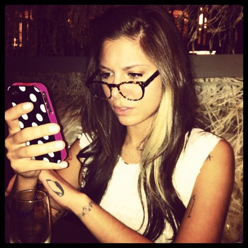 Christina Perri wearing glasses