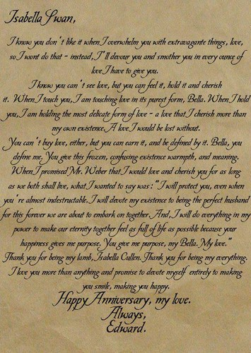 Edward's anniversay letter to Bella
