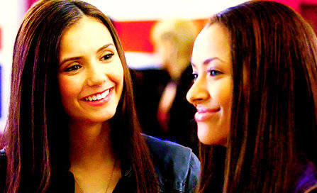 The Vampire Diaries پیپر وال containing a portrait entitled Elena and Bonnie :)