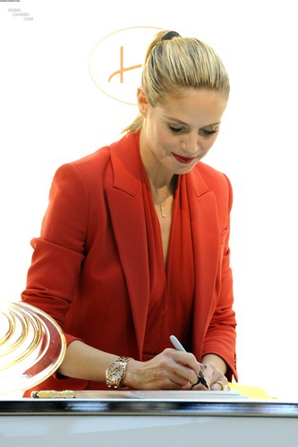 "Heidi Klum promoted her new fragrance ""Shine"" in Toronto, Canada"