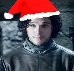 Jon Snow with christmas hat