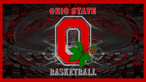 Ohio State University Basketball wallpaper with anime called OHIO STATE BASKETBALL RED BLOCK O
