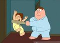 Peter hits Meg with a bat.