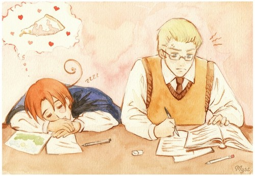 Studying - hetalia-gerita Photo